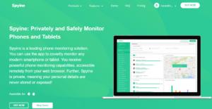 Spyine homepage view